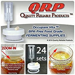 24 QRP Mason Jar Lids FERMENTATION KITS w/ EXCLUSIVE FOOD RETAINER AERATION CUPS = NO WEIGHTS NEEDED MOLD-PROOF, installed Grommets, Seals, Stoppers, & Airlocks (PRO PACK 24 REGULAR MOUTH)