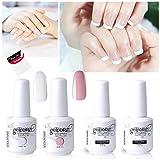 Vishine Gel Polish French Manicure Kit Top Base Coat Set Nail Gel Color White Pink Pedicure (Color: Pink)