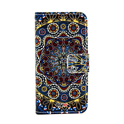 Bayke Brand / Iphone 6 Case Beautiful Pu Leather Wallet Type Flip Case Cover With Credit Card Holder Slots For Apple Iphone 6 Air (4.7-Inch) (Decorative Colorful Seamless Pattern In Mosaic Ethnic Style 01)