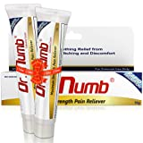 2 Tubes of Dr. Numb Maximum Topical Anesthetic Anorectal Cream, Lidocaine 5% | Pain Relief Cream for Tattoo, Piercing, Microneedling, Microblading, Waxing, Dermarolling, Hemorrhoid Treatment -10 g (2)