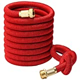 Greenbest 2016 NEW 50' Expanding Garden Hose, Ultimate, Solid Brass Connector Fittings, Red