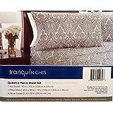Divatex Tranquil Nights Luxury Weight Bedding Queen 6 Piece Sheet Set (Queen, Grey/White Pattern)