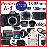 617vFi1%2BgSL. SL160  Pentax K 5 16.3 MP Digital SLR with 18 55mm Lens and 3 Inch LCD (Black) and Pentax DA L 55 300mm f/4 5.8 ED Lens with SSE 32GB Amazing Pro Package Includes 2 Batteries and charger, 2 lenses, Filter Kit Plus Much more