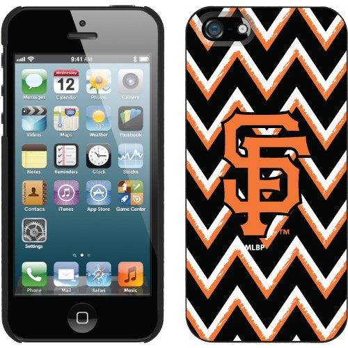 Best Price San Francisco Giants - Sketchy Chevron design on a Black iPhone 5s / 5 Thinshield Snap-On Case by Coveroo