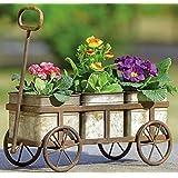 SPI Farmhouse Metal Garden Wagon Cart Planter with 3 Pots (Color: multi-color)