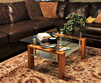 "Tier One Designs 47"" Glass Coffee Table with MDF Base"