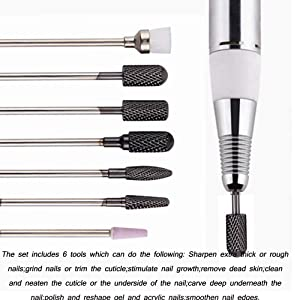 AORAEM Carbide Nail Drill Bits Set 7Pcs Acrylic Nail File Drill Bit For Nail Electric Drilling Machine Accessory Manicure Pedicure 3/32(Black-Carbide Nail Drill Bits) (Color: Black-Carbide Nail Drill Bits)