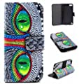 iPod Touch 6 & 5 Case, Asstar [Kickstand] NEW Pattern Premium PU Leather Wallet [Card/Cash Slots] Protective Flip Fold Wallet Pouch Case for6th Generation_2015 Released (Eyes)
