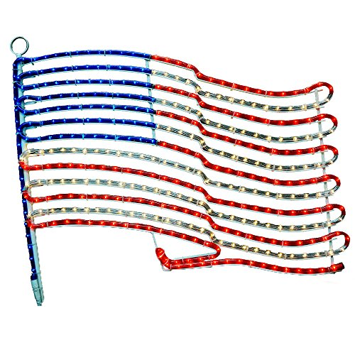 American Flag Rope Light Motif - Lighted Flag - Red, White and Blue Flag