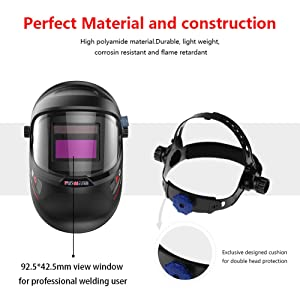 Tekware Welding Helmet 4C Lens Technology Solar Power Auto Darkening Hood True Color LCD Welder Mask Breathable Grinding Helmets with Adjustable Shade Range (Color: Black)