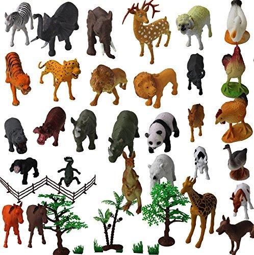 Set of 30 Large size ZOO SET Wild, Jungle, Farm & Desert Animals In Plastic Storage Container