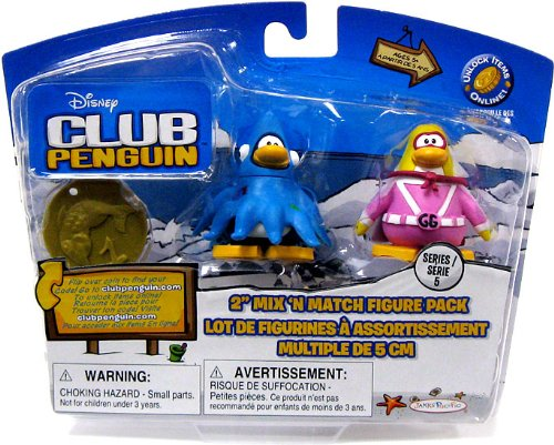 Buy Low Price Jakks Pacific Disney Club Penguin Series 5 Mix 'N Match Mini Figure Pack Gamma Girl & Squizoid [Includes Coin with Code!] (B002WQLPXQ)