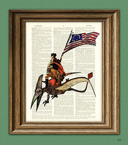 president-george-washington-riding-a-pterodactyl-dinosaur-beautifully-upcycled-dictionary-page-book-