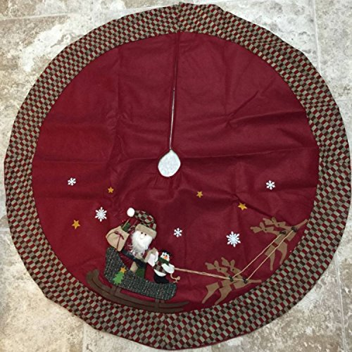 48-Christmas-Tree-Skirt-Large-Featuring-Santa-and-a-Snowman-on-a-Sled-Being-Led-by-Reindeer