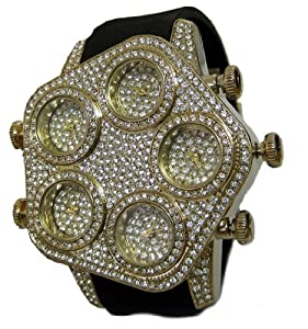 Mens Fully Iced Gold Faux Diamond 5 Time Zone hipHop Bling Watch