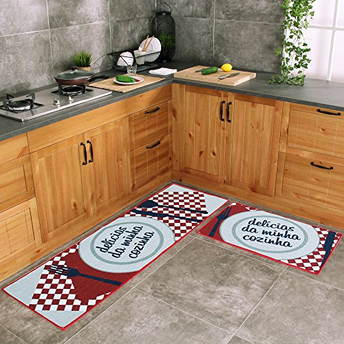 Carvapet 2 Piece Kitchen Mat Rubber Backing Doormat Runner Rug Set, Dish Design (Red 19