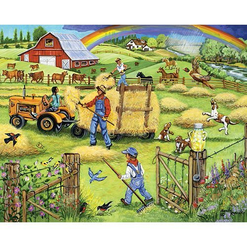 Bits and Pieces - 500 Piece Jigsaw Puzzle -Makin' Hay - Scenic Farm - by Artist Sandy Rusinko - 500 pc Jigsaw