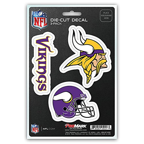 NFL Minnesota Vikings Team Decal - Pack of 3, Purple, Standard (Viking Decal compare prices)