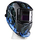 Flexzion Auto Darkening Welding Helmet Solar Powered Weld/Grind Selectable Mask Tool Lightning Skull Face Protector for Arc Tig Mig Mma Grinding Plasma Cutting with Adjustable Shade Range 9-13 (Color: Lightning Skull)