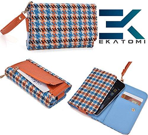 Carrying Case Cover Wallet [Baby Blue Orange] Gigabyte Gsmart G1342 Houston Ekatomi™ front-1021569