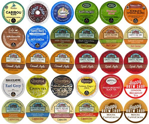 30-count Top Brand Coffee, Tea, Cider, Hot Cocoa and Cappuccino K-Cup Variety Sampler Pack, Single-Serve Cups for Keurig Brewers (Cappuccino Coffee Pods compare prices)
