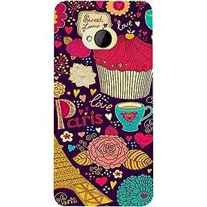 Casotec Paris Flower Love Design 3D Printed Hard Back Case Cover for HTC One M7