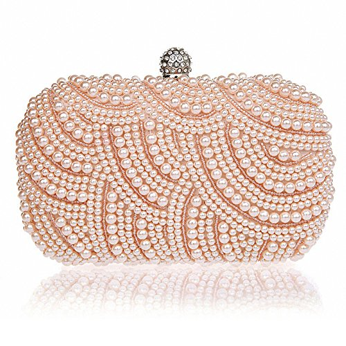 MapleClan Pearl Clutch Wallet Hand Beaded Dinner Party Bag Champagne