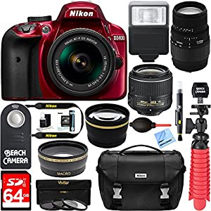 Nikon D3400 24.2 MP DSLR Camera + (18-55mm VR Nikon & 70-300mm SLD DG Sigma Lens Package, Red) + Bundle 64GB SDXC Memory + Photo Bag + Wide Angle Lens + 2x Telephoto+Flash + Remote + Tripod + Filters