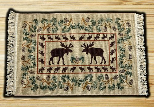 Capitol Importing 77-503B Moose-Pinecone - 2 ft. x 3 ft. Rectangle Wicker Weave