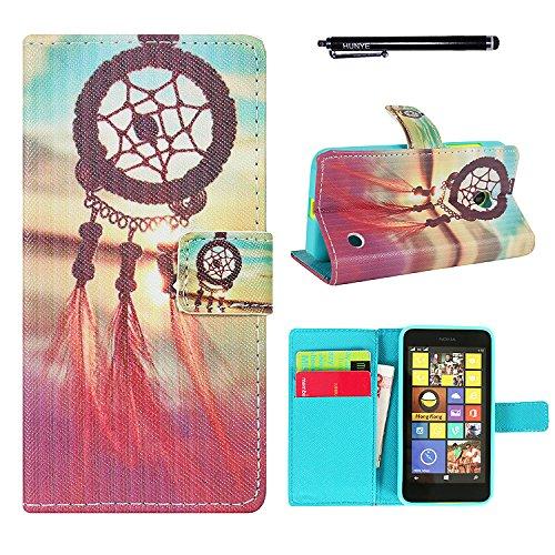 Hunye Custodia PU Pelle Portafoglio per Nokia Lumia 630 Case Dream Catcher Flip Cover con Stilo Penna