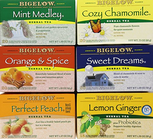 Bigelow Mixed Herb Teas Variety 6 Boxes Contains Mint Medley, Cozy Chamomile, Orange & Spice, Sweet Dreams, Perfect Peach, Lemon Ginger (1 set of 6 boxes (6 boxes)) (Mixed Tea Herbs compare prices)