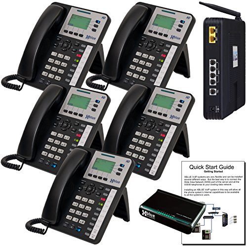 XBLUE X25 VoIP Phone System (C2505) with (5) X3030 IP Phones - Auto Attendant, Voicemail, Caller ID, Paging & Remote Phones (Remote Telephones compare prices)