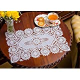 Soft Vinyl Crochet Placemats, White, Set of 8, 12 X 18 Inches