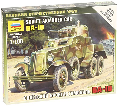 Zvezda Models BA-10 Soviet Armored Car WWII Vehicle Building Kit, Scale 1/100 - 1