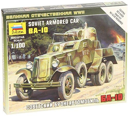 Zvezda Models BA-10 Soviet Armored Car WWII Vehicle Building Kit, Scale 1/100 - 1