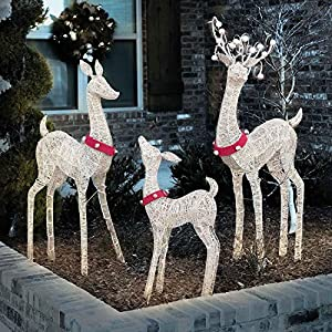 Life size indoor outdoor set of 3 lighted for Amazon christmas lawn decorations