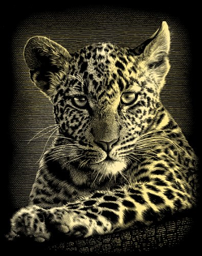 Reeves Leopard Cub Scraperfoil Artwork, Gold
