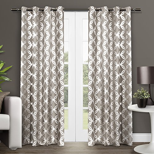 "Exclusive Home EH8049-02 2-96G Modo Metallic Geometric Grommet Top Window Curtain Panel Pair, Natural, 54"" x 96"""