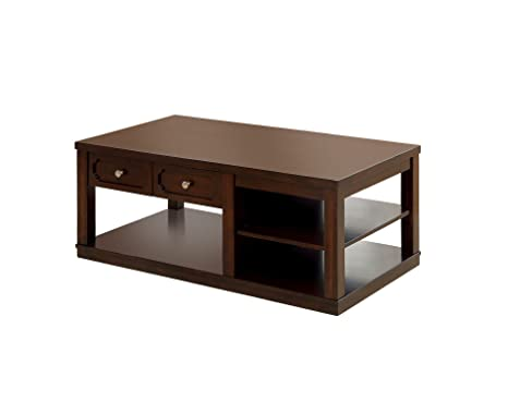 Furniture of America Elsina 2-Drawer and 3-Shelf Coffee Table, Brown Cherry