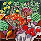 Continental Art Center BD-0231 8 by 8-Inch Fruits Basket and a Wine Glass Ceramic Art Tile