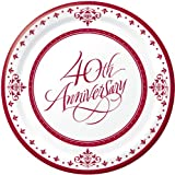 Stafford Ruby 40th Anniversary 7-inch Paper Plates 18 Per Pack