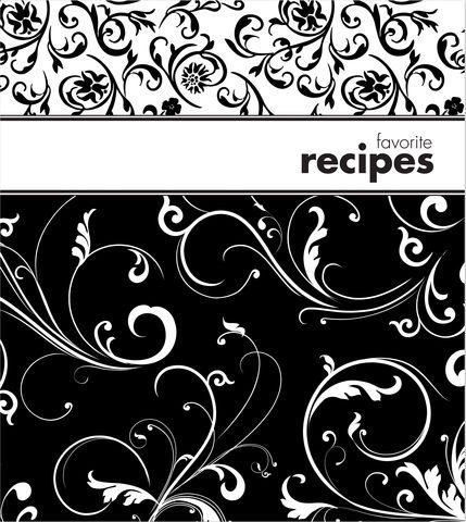 Black & White Swirls Recipe Binder Album with 20 Clear Acryl