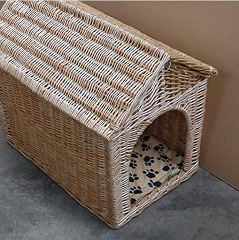 Nido perro jaula mascotas perrera perro casa gatos tejidas a mano natural mimbre grandes Perros Bichón casa perrera del animal doméstico