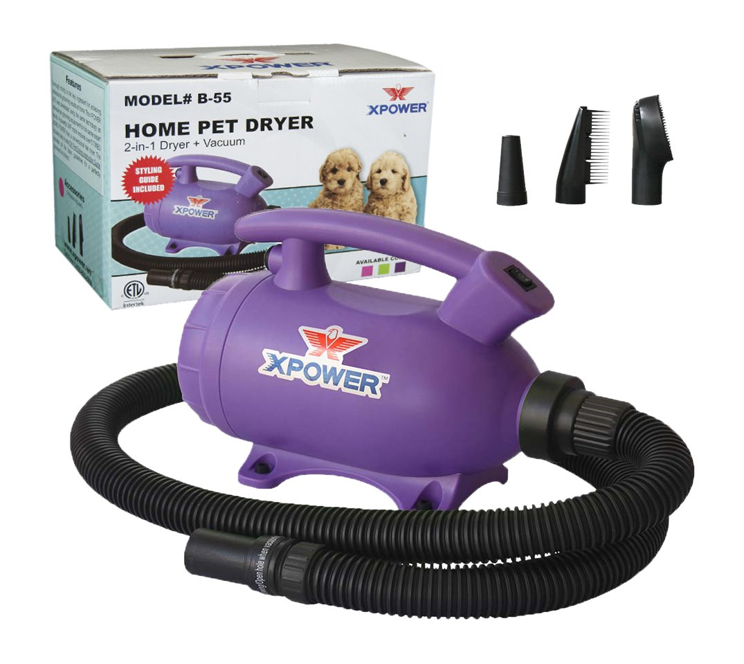 XPOWER B-55 Portable 2 HP Home Pet Grooming 2-in-1 Dog Force Hair Dryer & Vacuum