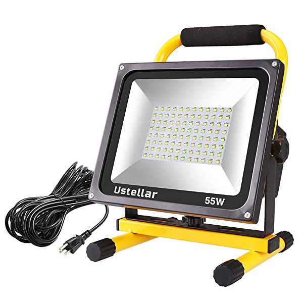 Ustellar 5500LM 55W LED Work Light (400W Equivalent), 2 Brightness Levels, Waterproof Flood Lights, 16ft/5M Cord with Plug, Stand Working Lights for Workshop, Construction Site, 6000K Daylight White (Color: Yellow)