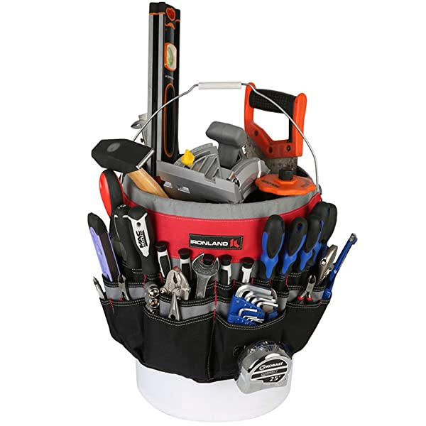 IRONLAND 1130 Bucket Tool Garden Organizer with 51 Pockets Heavy Duty Tool Carrier Holder Fit for 3.5-5 Gallon Bucket (Color: Grey)