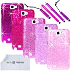 Samsung Galaxy Note 2 Case Bundle including 5 Bling Glitter Hard Cases for Samsung Galaxy Note II N7100 / 4 Stylus Pens / 2 Screen Protectors / 1 ECO-FUSED Microfiber Cleaning Cloth - Perfect for Girls - (Dark Purple, Purple, Pink, Light Pink, Hot Pink)