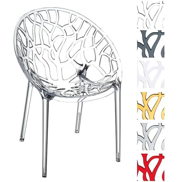 CLP Set di 2 sedie da giardino CRYSTAL, impilabili, idrorepellenti, resistente ai raggi UV, fino a 6 colori a scelta trasparente