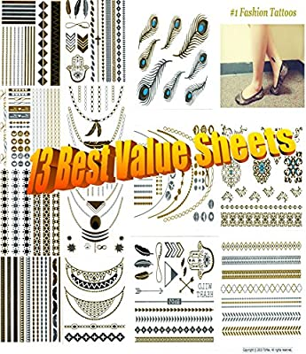 Metallic Gold Silver Black Jewelry Temporary Bling Tattoo All-In-One Package 13 Sheets