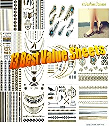 13 Sheets of Metallic Gold Silver Black Jewelry Temporary Bling Tattoo All-In-One Package